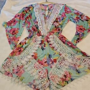 Giddy Up Glamour Gugonline Romper Sm Floral & Lace
